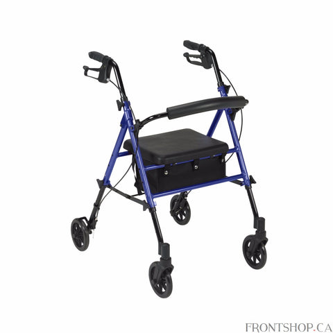 If you're seeking a safe, convenient aid to improving your daily mobility, a Rollator can be the ideal solution. Wheels make a Rollator a superior option over a standard walker, eliminating the need to lift the device and allowing you to walk with an easy, smooth gait. Plus, Rollators are better for traveling over uneven, outdoor terrain, making them great for your active, busy lifestyle. And with the built-in seat found on a Rollator, you'll always have a convenient place to rest. Drive's Rollator with 6""