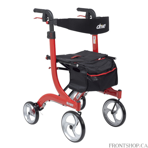 Supreme Value, Comfort and Mobility Drive Medical's Nitro Euro Style Rollator Walker in Tall Height was designed for those who want unmatched value along with proven comfort and convenience. With a sturdy and long-lasting frame made of lightweight aluminum, this walker is durable, yet easy to move around over all surfaces, giving you outstanding value, unmatched comfort, independence and ease of movement.Designed with your comfort, safety and convenience squarely in mind, the Nitro Euro Style Rollator Walke