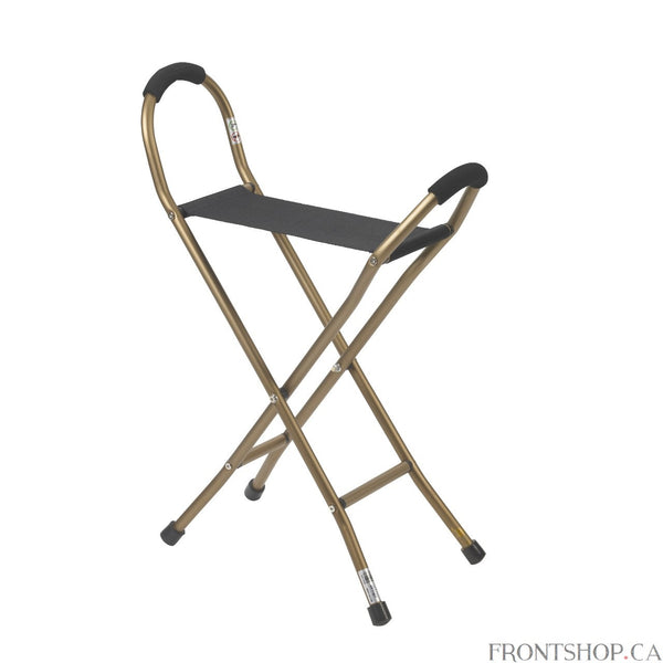 "This deluxe folding aluminum seat cane by Drive Medical features convenience right out of the box. Ideal for individuals on the go this cane can be used as a resting seat or traditional walking cane. The sling material provides a comfortable seat for resting when opened. When closed this cane increases mobility and ensures maximum safety and security. Strong aluminum bronze construction and four sturdy legs with vinyl contoured tips can support a weight capacity of 250 pounds. The 15"" x 6"" nylon sling seat"