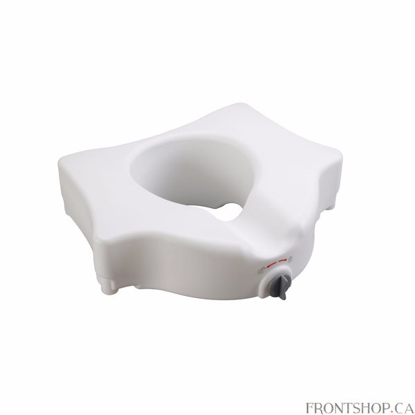 This elevated toilet seat by Drive Medical ensures you a safer and more secure fit than ever. The newly designed locking device is engineered to fit securely on almost any standard toilet. Heavy-duty molded plastic construction allows the product to remain lightweight without sacrificing strength and durability. This elevated toilet seat will help individuals who need a boost sitting down or standing up from the toilet. For consumers using a wheelchair this product allows for easy transfer to and from the r