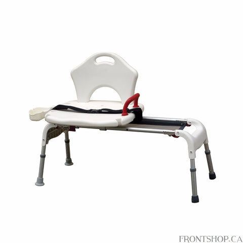The new Folding Universal Sliding Transfer Bench from Drive Medical offers your customers an easy way to transfer in and out of the tub. The bench slides left and right along the frame, and comes equipped with a seat belt for added safety.