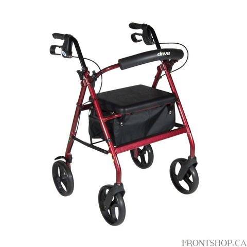 If you're seeking a safe, convenient aid to improving your daily mobility, a Rollator can be the ideal solution. Wheels make a Rollator a superior option over a standard walker, eliminating the need to lift the device and allowing you to walk with an easy, smooth gait. Plus, rollators are better for traveling over uneven, outdoor terrain, making them great for your active, busy lifestyle. And with the built-in seat found on a Rollator, you'll always have a convenient place to rest. Drive's Aluminum Rollator
