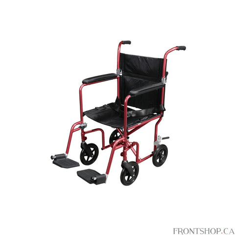 "The Deluxe 19"" Fly Weight Aluminum Transport Chair with Removable Casters in red by Drive Medical weighs about 30% less than traditional transport chairs. Weighing only 19 pounds, this chair has a hassle free, aluminum back release that folds down the back, flared arms that allow flat folding and the lightweight aluminum frame combine to make this chair easy and convenient to store and transport. The removable, composite, 8"" caster wheels in front and rear with rear wheel locks and quick release axle, provi"