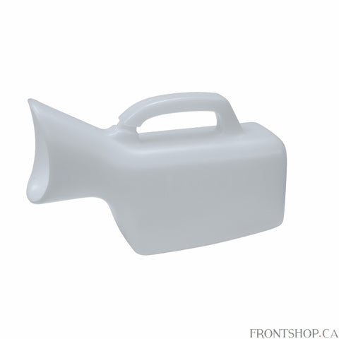 The Female Urinal by Drive is an essential necessity for anyone who has trouble getting out of bed. The unit prevents spills due to the design of the unit in its shape. The Female Urinal has a sturdy grip for easy handling and allows the unit to be used in several positions by the patient. The unit is Lightweight, durable and easy to clean. The Female Urinal has graduation marks making it easy to see how full the unit is. The female urinal can hold 35 oz (or approximately .9L).