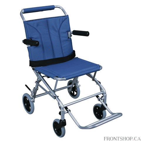 This Super Light Folding Transport Chair with Carry Bag by Drive Medical has a lightweight, silver aluminum frame and maintenance free composite wheels with rear wheel locks. Weighing only 19 pounds, this transport chair is one of the lightest in the market. It folds like a conventional folding chair and comes with a carry bag for easy storage and transportation. Comes standard with padded flip back arms, composite, maintenance free wheels that provide a smooth ride over most surfaces, fold down footrests a