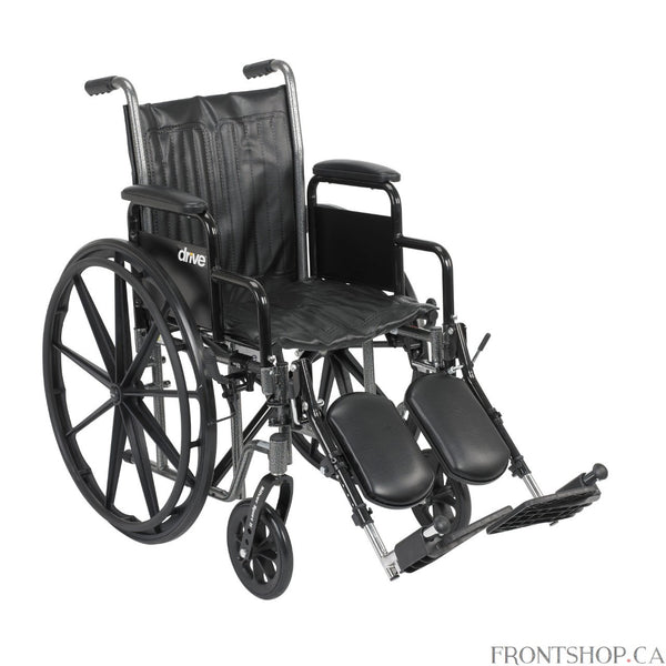"The 18"" Silver Sport 2 Wheelchair with Detachable Desk Arms and Swing Away Footrests by Drive Medical comes in an attractive, easy to maintain, powder coated, silver vein finish, and a steel frame for durability. The urethane tires are mounted on composite wheels to provide durability and a smooth ride over most surfaces. The embossed, nylon upholstery is durable, lightweight, attractive and easy to clean. The carry pocket on the backrest provides an easy and safe way to transport personal items. Comes stan"