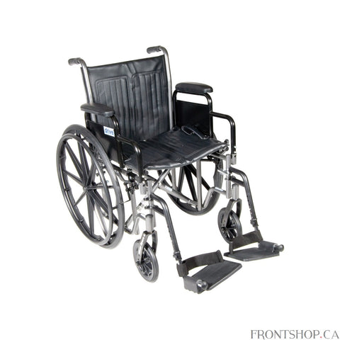 "The 18"" Silver Sport 2 Wheelchair with Detachable Desk Arms and Swing Away Footrests comes in an attractive, easy to maintain, powder coated, silver vein finish, and a steel frame for durability. The urethane tires are mounted on composite wheels to provide durability and a smooth ride over most surfaces. The embossed, nylon upholstery is durable, lightweight, attractive and easy to clean. The carry pocket on the backrest provides an easy and safe way to transport personal items. Comes standard with swing a"