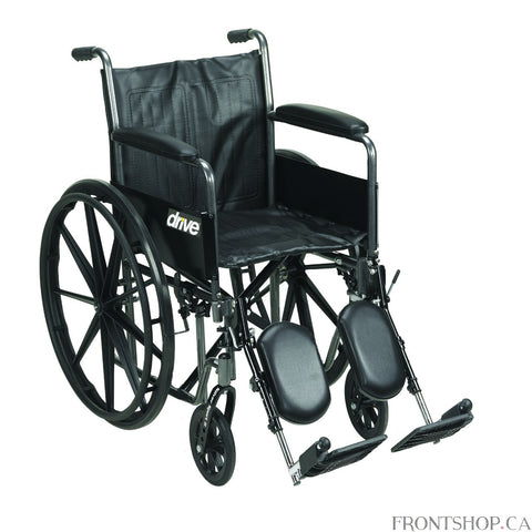 "The 18"" Silver Sport 2 Wheelchair with Detachable Full Arms and Swing Away Footrests by Drive Medical comes in an attractive, easy to maintain, powder coated, silver vein finish, and a steel frame for durability. The urethane tires are mounted on composite wheels to provide durability and a smooth ride over most surfaces. The embossed, nylon upholstery is durable, lightweight, attractive and easy to clean. The carry pocket on the backrest provides an easy and safe way to transport personal items. Comes stan"
