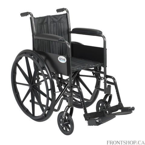 "The 18"" Silver Sport 2 Wheelchair with Fixed Arms and Swing Away Footrests by Drive Medical comes in an attractive, easy to maintain, powder coated, silver vein finish, and a steel frame for durability. The urethane tires are mounted on composite wheels to provide durability and a smooth ride over most surfaces. The embossed, nylon upholstery is durable, lightweight, attractive and easy to clean. The carry pocket on the backrest provides an easy and safe way to transport personal items. Comes standard with"