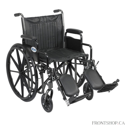 "The 20"" Silver Sport 2 Wheelchair with Detachable Desk Arms and Swing Away Footrests by Drive Medical comes in an attractive, easy to maintain, powder coated, silver vein finish, and a steel frame for durability. The urethane tires are mounted on composite wheels to provide durability and a smooth ride over most surfaces. The embossed, nylon upholstery is durable, lightweight, attractive and easy to clean. The carry pocket on the backrest provides an easy and safe way to transport personal items. Comes stan"