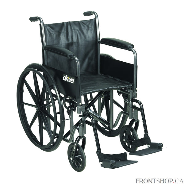 "The 20"" Silver Sport 2 Wheelchair with Detachable Full Arms and Swing Away Footrests comes in an attractive, easy to maintain, powder coated, silver vein finish, and a steel frame for durability. The urethane tires are mounted on composite wheels to provide durability and a smooth ride over most surfaces. The embossed, nylon upholstery is durable, lightweight, attractive and easy to clean. The carry pocket on the backrest provides an easy and safe way to transport personal items. Comes standard with swing a"