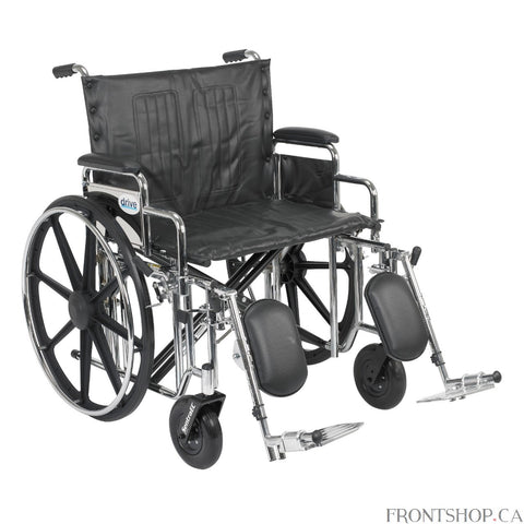 "The Sentra Extra Heavy Duty Wheelchair from Drive Medical boasts a 500 pound weight capacity, made possible through the use of reinforced steel gussets, heavy gauge reinforced naugahyde upholstery, reinforced side frame, caster journals, and dual cross bars. The stylish triple coated chrome frame, made of carbon steel, adds a touch of elegance to this bariatric wheelchair. This Sentra Extra Heavy Duty Wheelchair comes with detachable desk arms, elevating leg rests, and a 24"" wide seat."