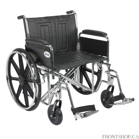 The Bariatric Sentra EC Heavy Duty Wheelchair with Detachable Full Arms and Swing Away Footrests by Drive Medical comes with a Dual Cross Bar that reinforces the carbon steel frame, making this chair capable of a 450 lbs. weight capacity. The carbon steel frame has an attractive, chip proof, maintainable, triple coated, chrome finish and double embossed, vinyl upholstery, making this bariatric wheelchair durable, lightweight, attractive and easy to clean. The standard, dual axle, conveniently provides an ea