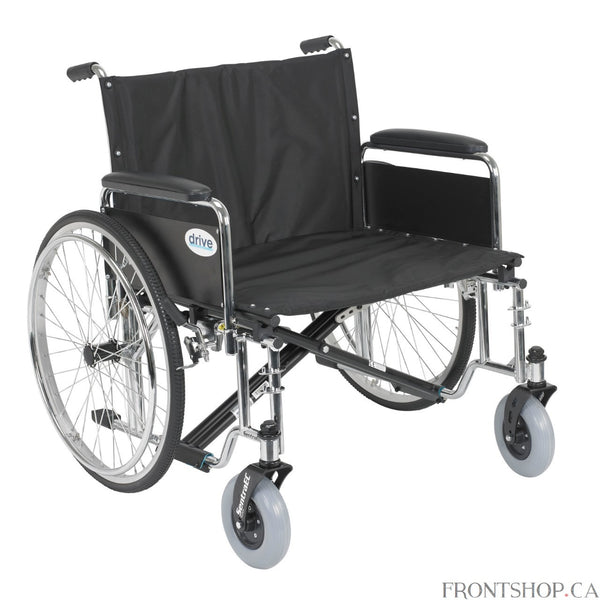 "The Sentra EC Extra Wide Heavy Duty Wheelchair from Drive Medical boasts a 700 pound weight capacity, made possible through the use of reinforced steel gussets, reinforced nylon upholstery, reinforced side frame, extra heavy duty front forks and casters, and dual cross bars. The stylish triple chrome coated steel frame and steel spoke wheels add a touch of elegance to this bariatric wheelchair. This Sentra EC Extra Wide Heavy Duty Wheelchair comes with detachable full arms and a 26"" wide seat. Foot rests ar"