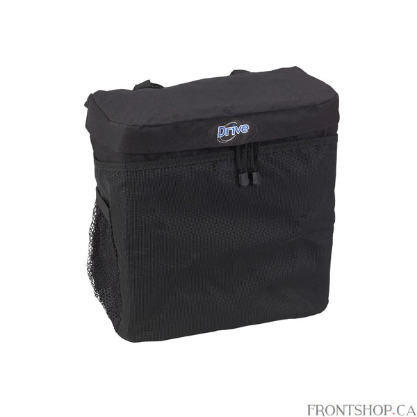 This Large, Deluxe Wheelchair Carry Pouch by Drive Medical easily attaches to wheelchairs. It is made of durable, easy to clean nylon and comes with a large, zippered pocket and mesh pockets with hook-and-loop fasteners provide an easy and secure transportation of personal items. Will fit most wheelchairs.