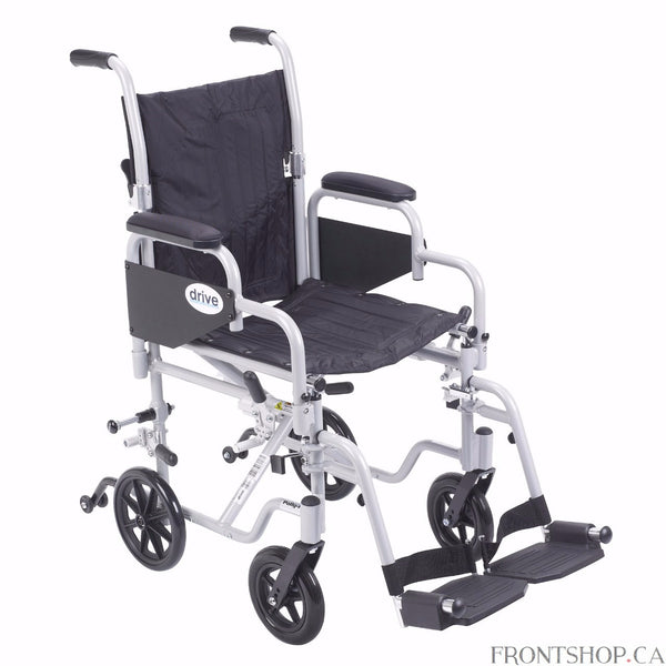 "The 16"" Poly-Fly High Strength Lightweight Wheelchair/Flyweight Transport Chair Combo by Drive Medical can be used as a standard, self propelled wheelchair or as a transport chair, all-in-one for your convenience. The quick release 24"" wheels can be easily removed to transition from a wheelchair to a transport chair. Also comes with two sets of aluminum wheel locks, one for use with wheelchair and one for use with transport chair, for added safety. The deluxe back release folds down the backrest for easy an"