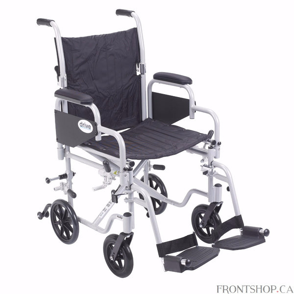 "The 18"" Poly-Fly High Strength Lightweight Wheelchair/Flyweight Transport Chair Combo by Drive Medical can be used as a standard, self propelled wheelchair or as a transport chair, all-in-one for your convenience. The quick release 24"" wheels can be easily removed to transition from a wheelchair to a transport chair. Also comes with two sets of aluminum wheel locks, one for use with wheelchair and one for use with transport chair, for added safety. The deluxe back release folds down the backrest for easy an"