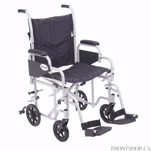 "The 20"" Poly-Fly High Strength Lightweight Wheelchair/Flyweight Transport Chair Combo by Drive Medical can be used as a standard, self propelled wheelchair or as a transport chair, all-in-one for your convenience. The quick release 24"" wheels can be easily removed to transition from a wheelchair to a transport chair. Also comes with two sets of aluminum wheel locks, one for use with wheelchair and one for use with transport chair, for added safety. The deluxe back release folds down the backrest for easy an"