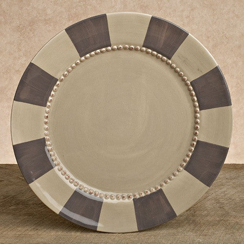 "8.5"" Taupe/Gray Striped GG Collection Plate"