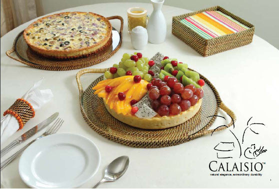 Calaisio Round Serving Tray w/Glass Bottom