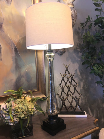 Mercury Glass Column Lamp