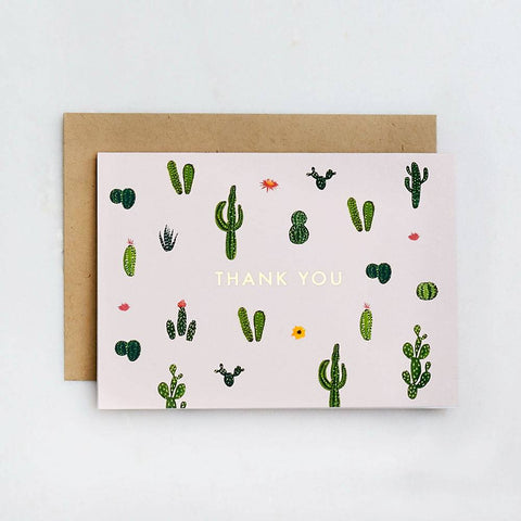 Waste Not Paper Cacti Thank You Foil Card