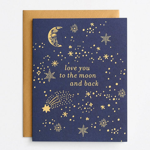 Waste Not Paper Love You to The Moon Foil Card