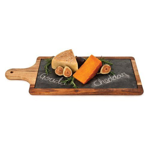 True Slate and Wood Cheese Paddle by Twine