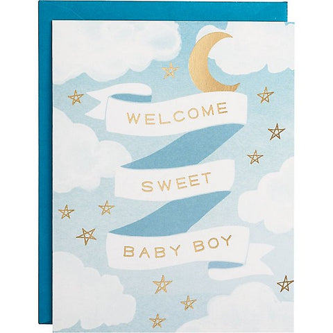 Waste Not Paper Welcome Baby Boy Card