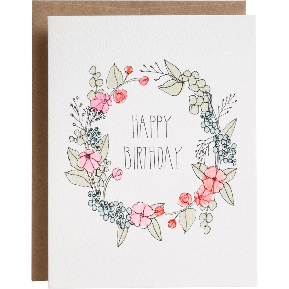 Waste Not Paper Birthday Floral Wreath Foil Card