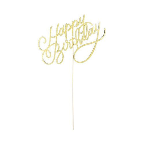 Gold Happy Birthday Paper Cake Topper by Cakewalk