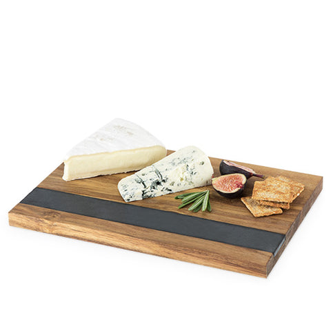 Twine Rustic Farmhouse: Wood with Slate Serving Board