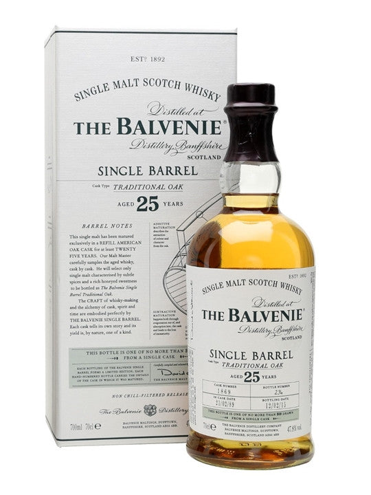 Balvenie 25yr Old Single Barrel Scotch Whiskey
