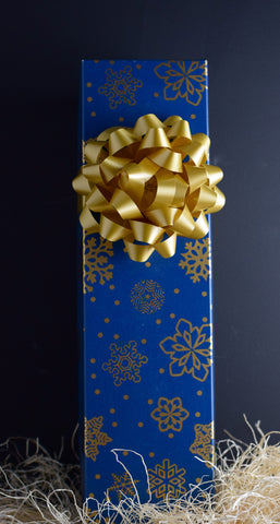 Wine Gift Box in Blue & Gold Flakes