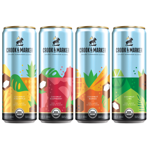 Crook & Marker Spiked & Sparkling Coconut Variety Pack - 8PK Cans
