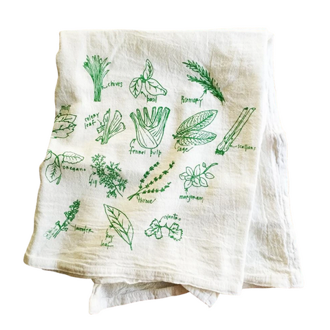 Girls Can Tell Garden Herbs Tea Towel