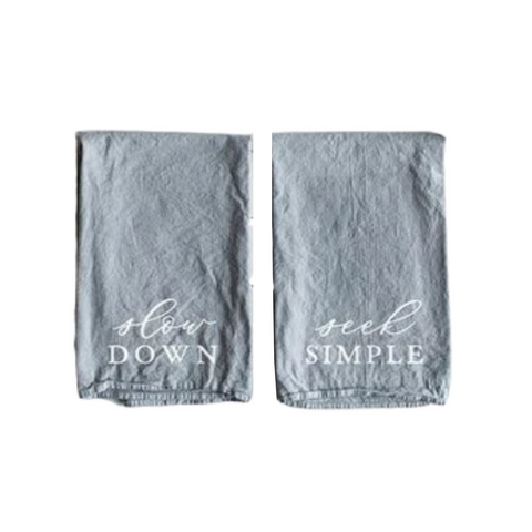 Oyster's Pearl Slow Down Seek Simple Tea Towels (Set of 2)