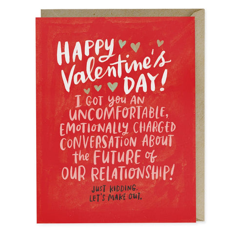 Uncomfortable Conversation Valentines Day Greeting Card