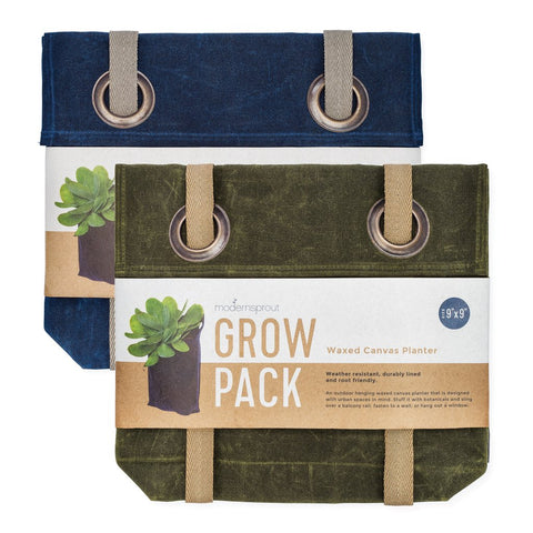 Modern Sprout Waxed Canvas Planter, Navy