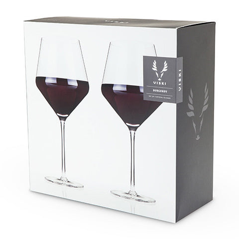 Viski Crystal Burgundy Glass Set Of 2