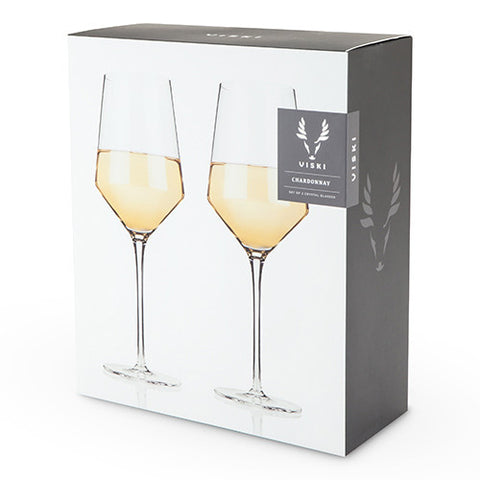 Viski Crystal Chardonnay Glass Set Of 2