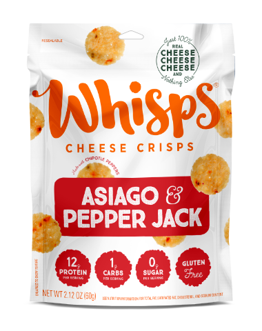 Cello Whisps Asiago and Peper Jack Cheese Crisps