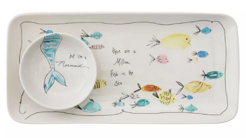 STONEWARE PLATE & DISH W/ FISH & MERMAID - CREATIVE COOP