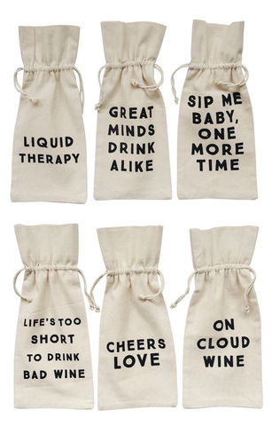 COTTON WINE BAG W/ SAYING - CREATIVE COOP