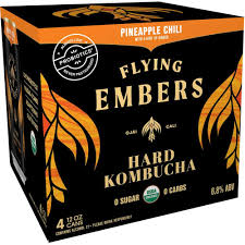 Flying Embers Pineapple Chili Hard Kombucha 4pk Can