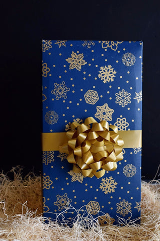 Wine Gift Box Blue & Gold Snowflakes