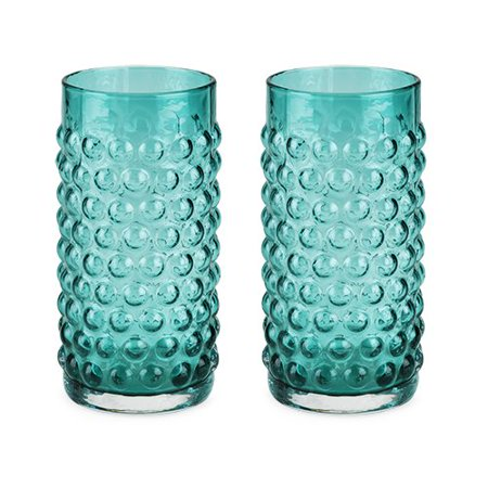 Country Cottage Blue Hobnail Glasses (Set of 2) by Twine