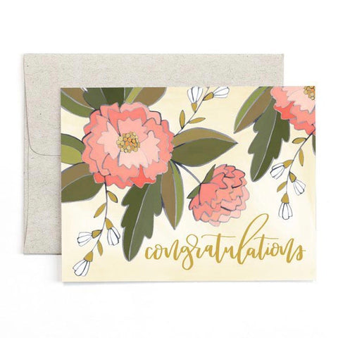 Congratulations Peonies Greeting Card