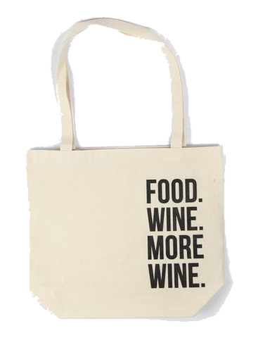 Food Wine More Wine Canvas Tote Bag