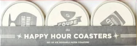 Izola Coasters, Happy Hour (Set of 6)